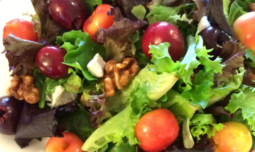Cherry salad with goat cheese and walnuts from The Petite Gourmande, Ruth Barnes