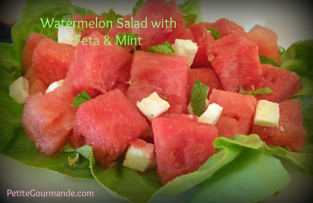 Watermelon Salad with Feta and Mint, recipe by Ruth Barnes the Petite Gourmande