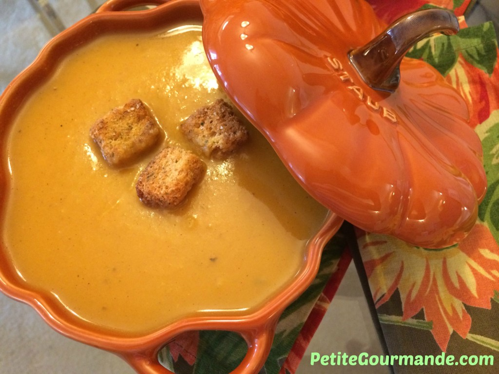 Butternut Squash Soup with croutons in a pumpkin decorative bowl