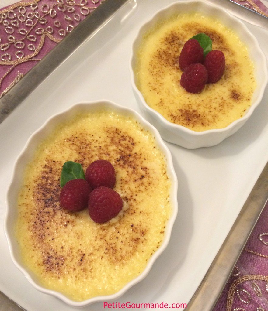 Creme Brulee topped with raspberries, a recipe by Ruth Barnes, The Petite Gourmande